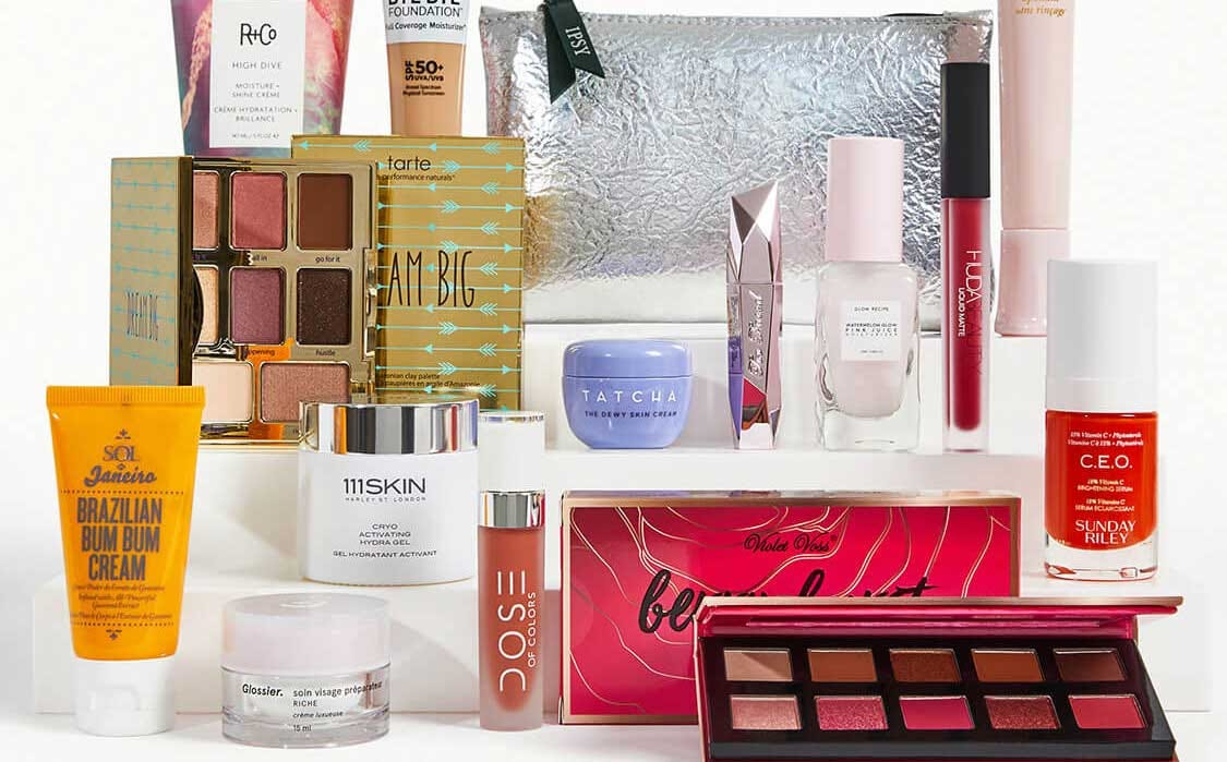 A collection of cosmetics in the Ipsy monthly box.