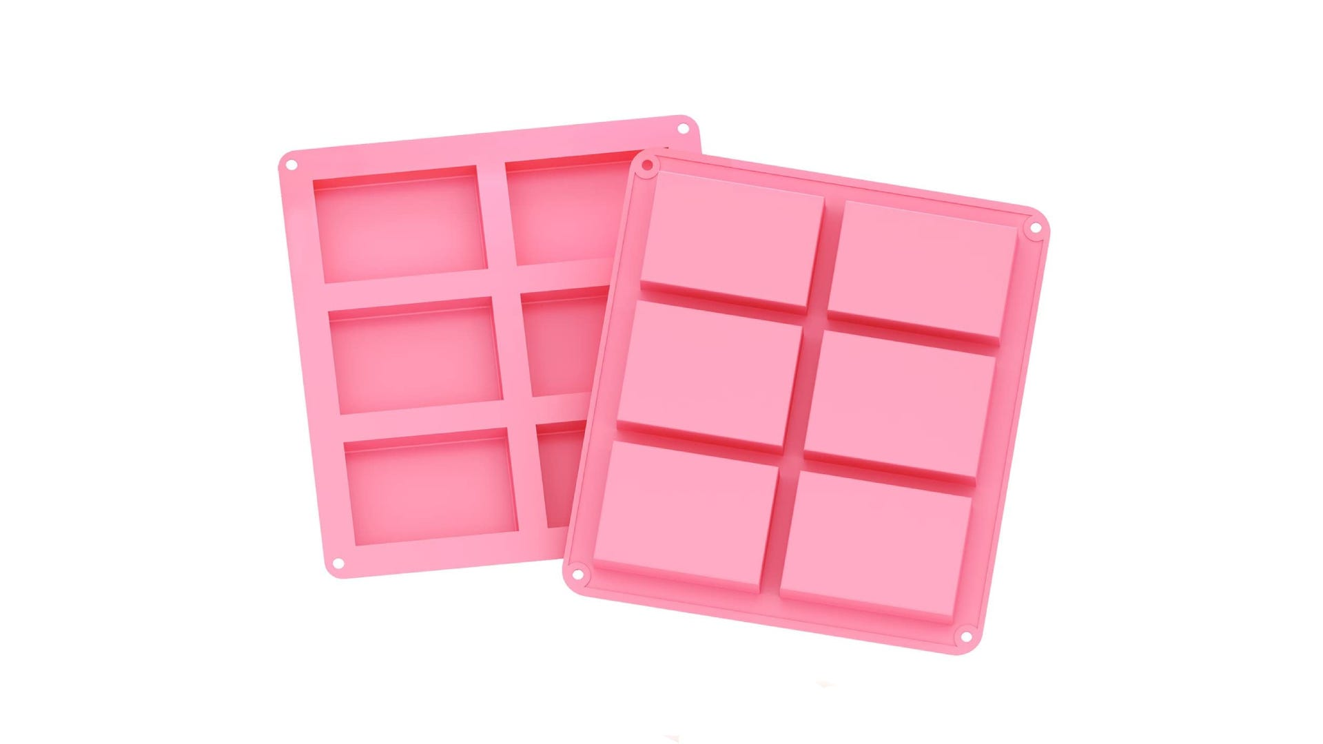 two pink silicone soap molds side by side, both with six cavities