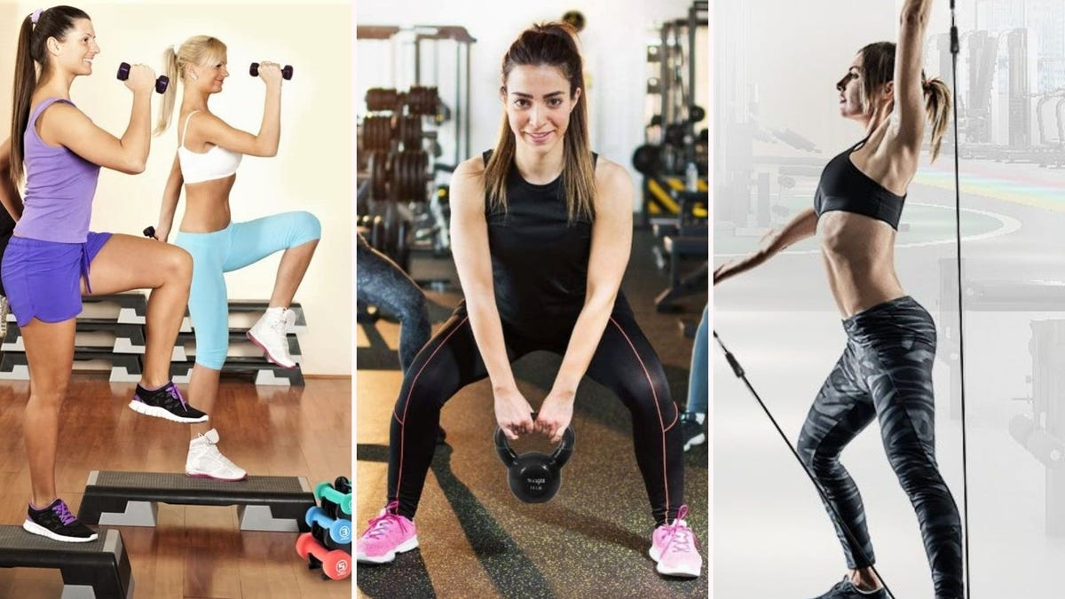 Two women using dumbbells, a woman using a kettlebell, and a woman using resistance bands.