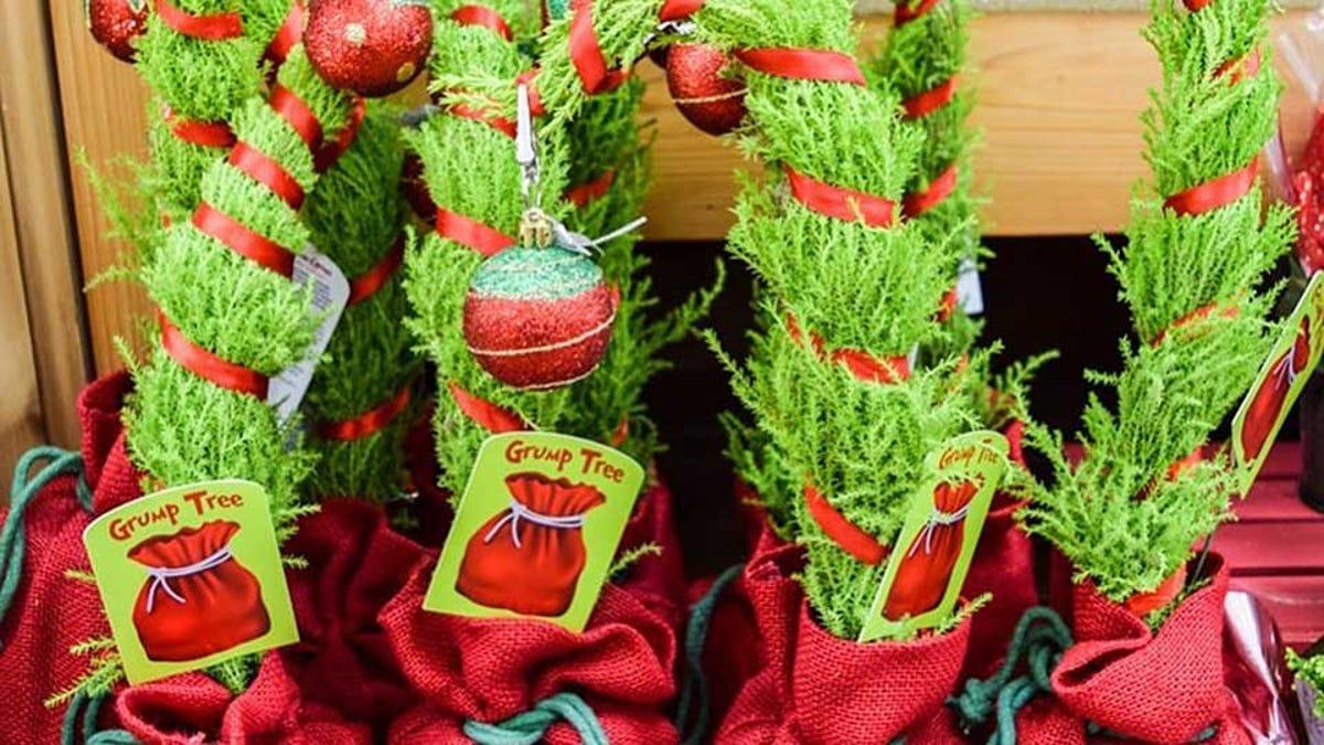 """Examples of the lemon cypress """"grump tree"""" decorations at Trader Joe's."""