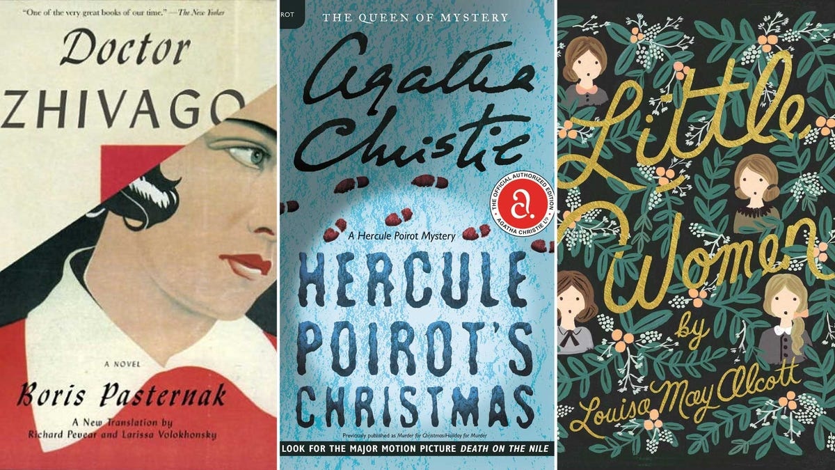 From left to right, the covers of Doctor Zhivago, Hercule Poirot's Christmas, and Little Women.