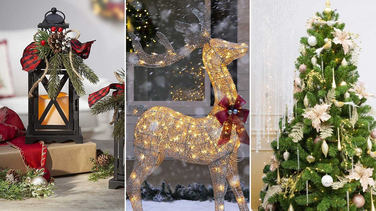 Left to right: festive holiday lanterns, a glowing wire-frame reindeer, and a Christmas tree.