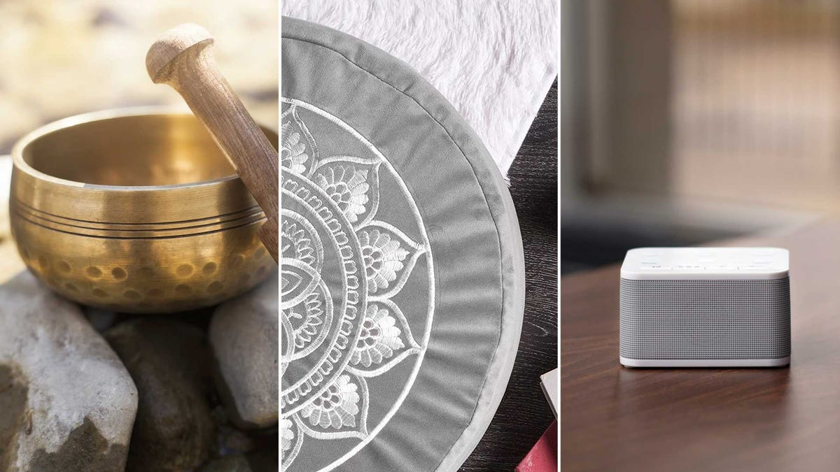 From left to right: a Tibetan singing bowl, a meditation cushion, and a white noise machine.