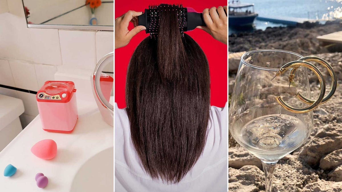 From left to right: a makeup sponge washer, a volumizing hair brush, and gold hoop earrings.