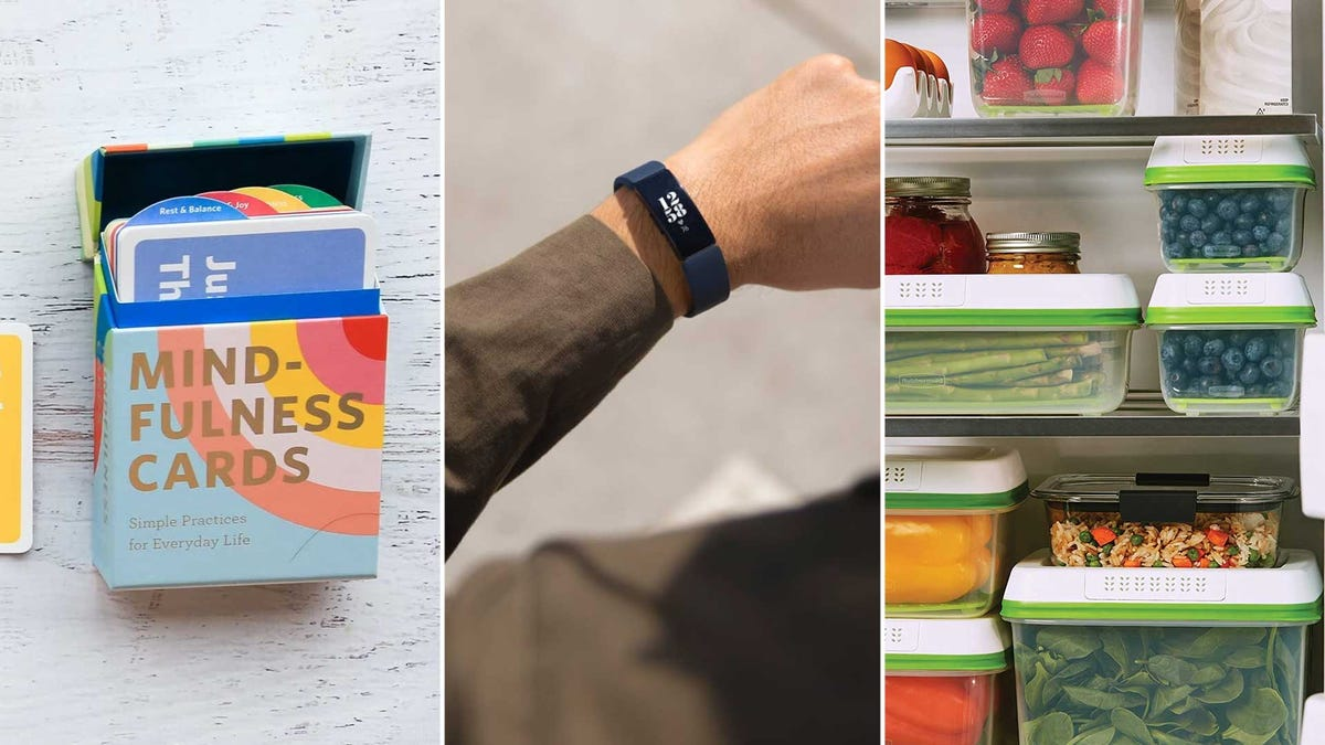 From left to right: mindfulness training cards, a Fitbit fitness tracker, and Rubbermaid food storage containers.
