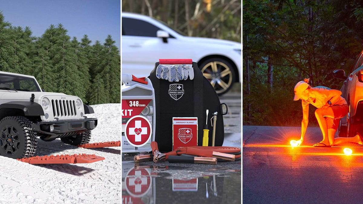 From left to right: traction boards, a first aid kit, and emergency lights.