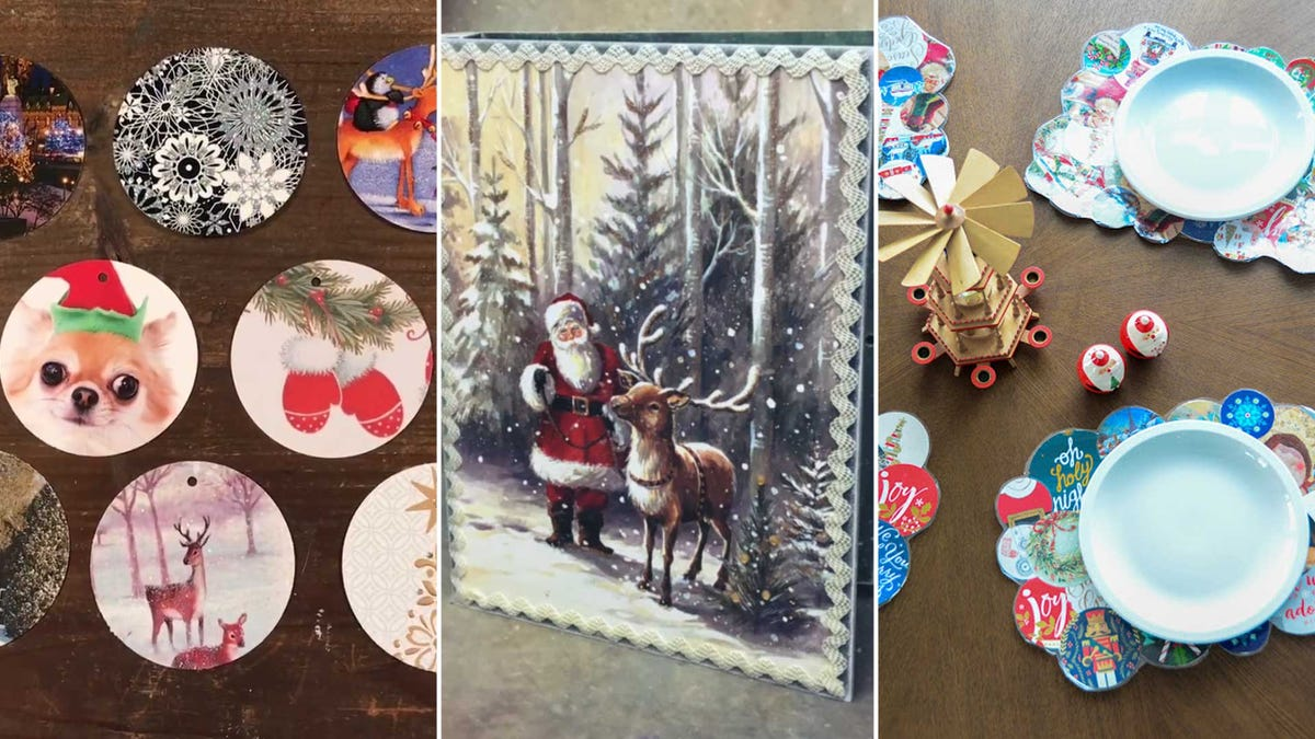 Examples of crafts you can make, such as gift tags and placemats, using old Christmas cards.