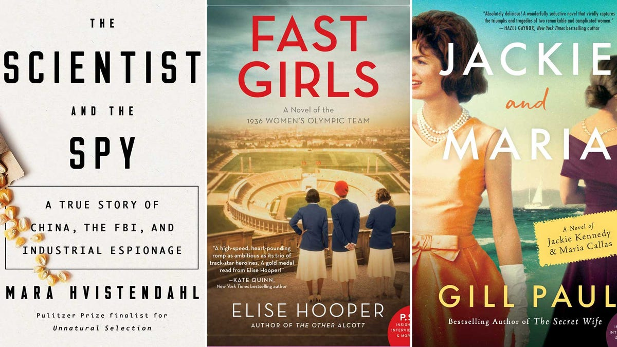 Book covers from left to right: 'The Scientist and the Spy', 'Fast Girls', and 'Jackie and Maria'.