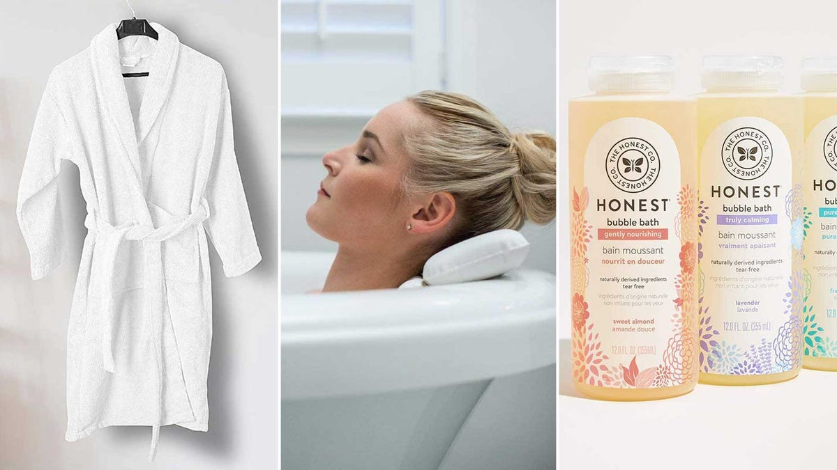 From left to right: a terrycloth bathrobe, a bath pillow, and some Honest Company bubble bath.