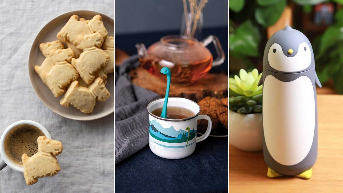From left to right: 'scottie dog' shortbread cookies, a Loch Ness monster tea strainer, and a penguin thermos.