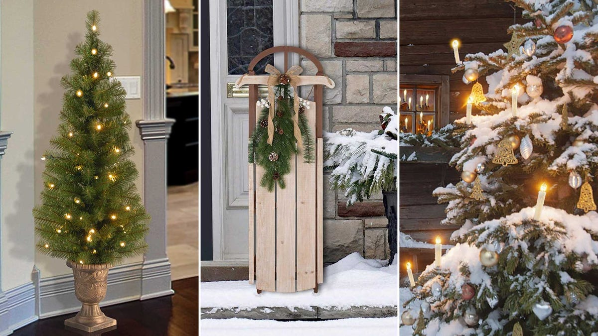 Left to right: A lit Christmas tree in a planter, an old fashioned sled, and Christmas tree candles.