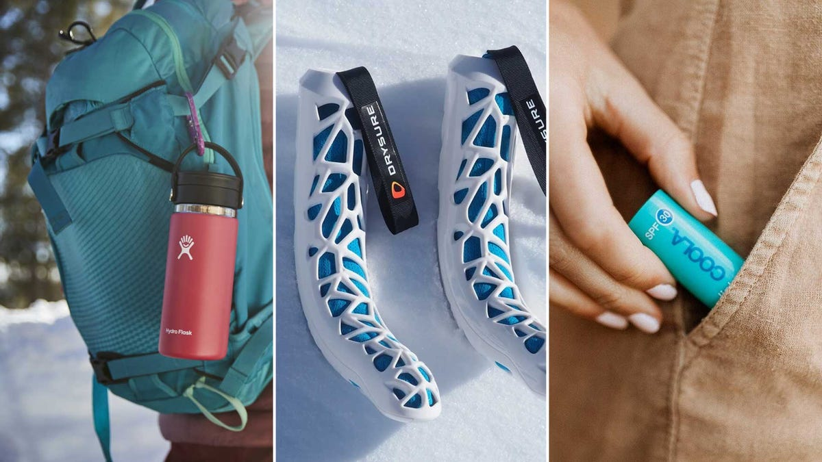 Winter sport accessories, from left to right: an insulated water flask, boot drying inserts, and premium chapstick.
