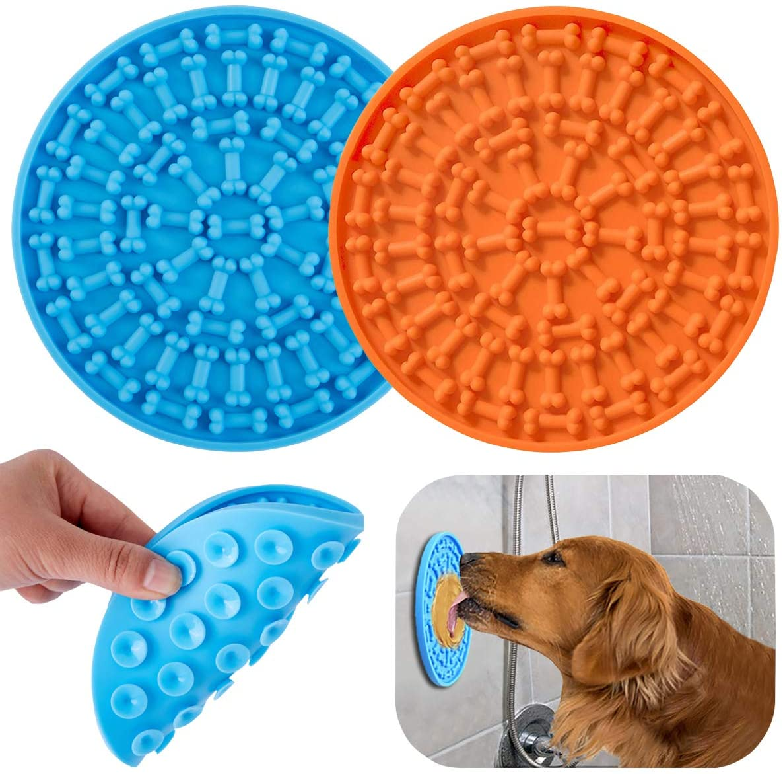 orange and blue dog lick mats