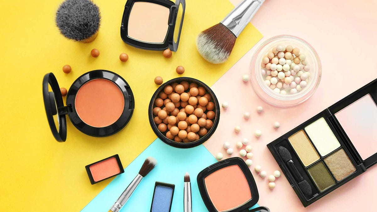 Cosmetics on a colorful background.