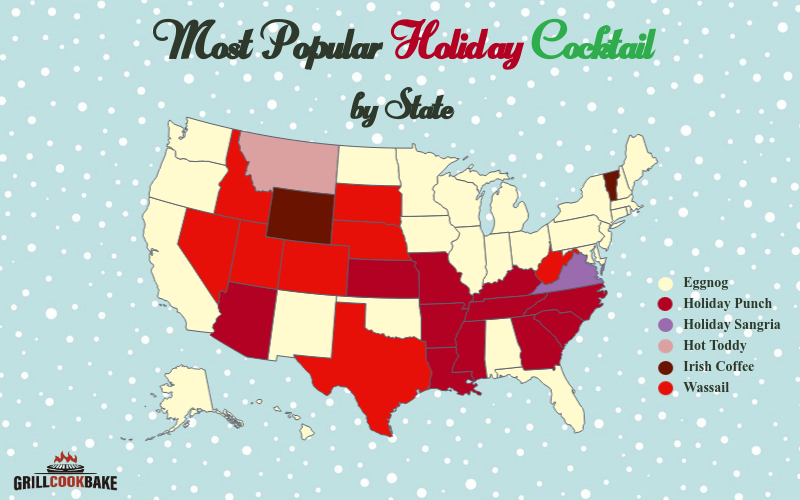 A map shows which Christmas cocktails are most popular in the US