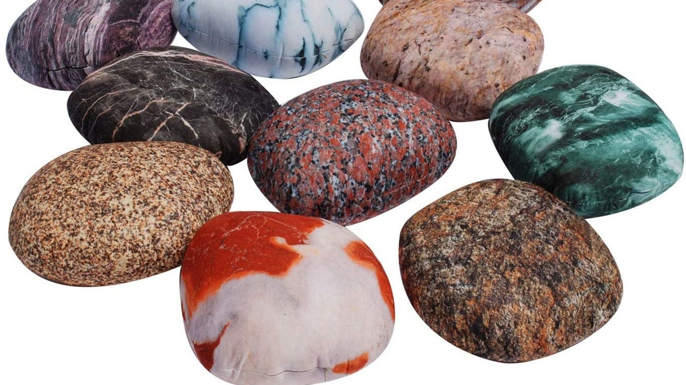 A collection of realistic looking stone pillows.