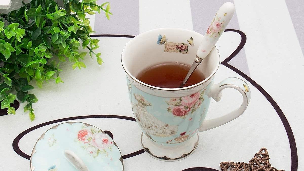 Vintage-look teacup on a table.
