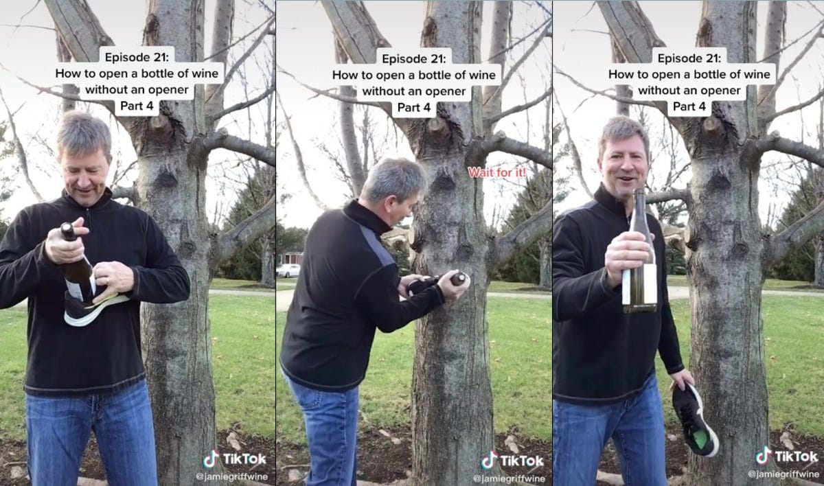 A man demonstrates how to pop a bottle of wine without a corkscrew.