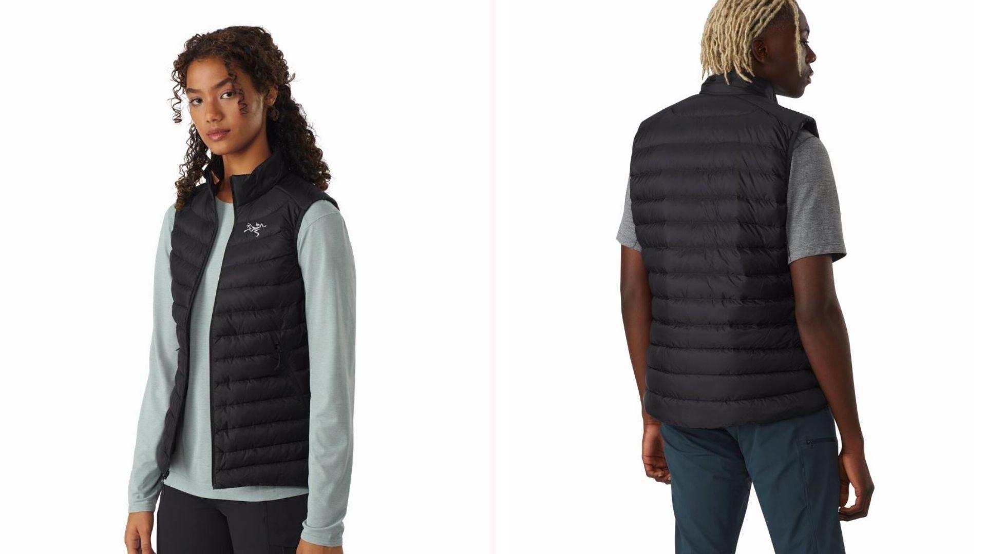 A man and woman wearing the black Cerium LT Vest.