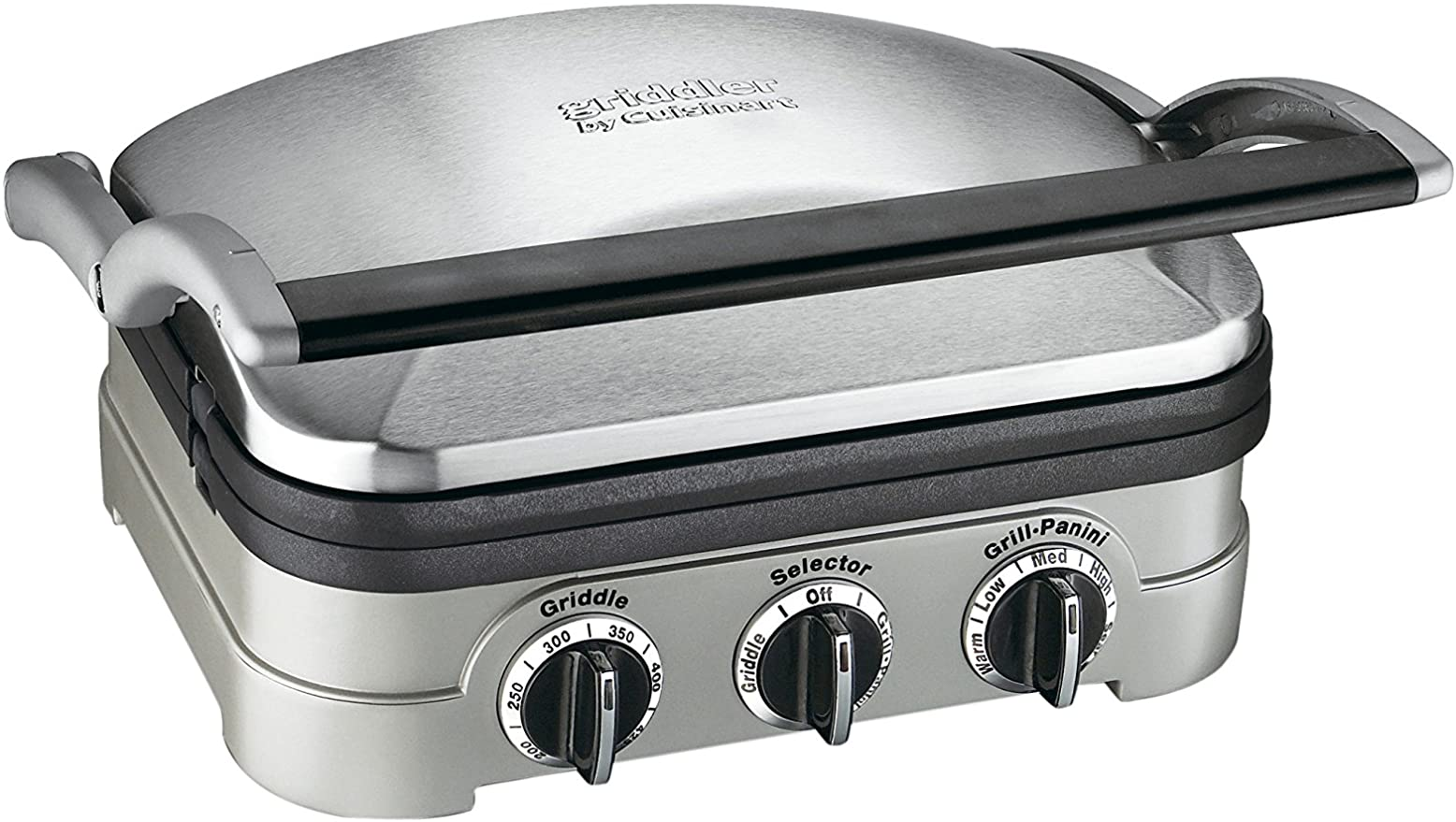 Silver panini press, closed, with three dials on the front
