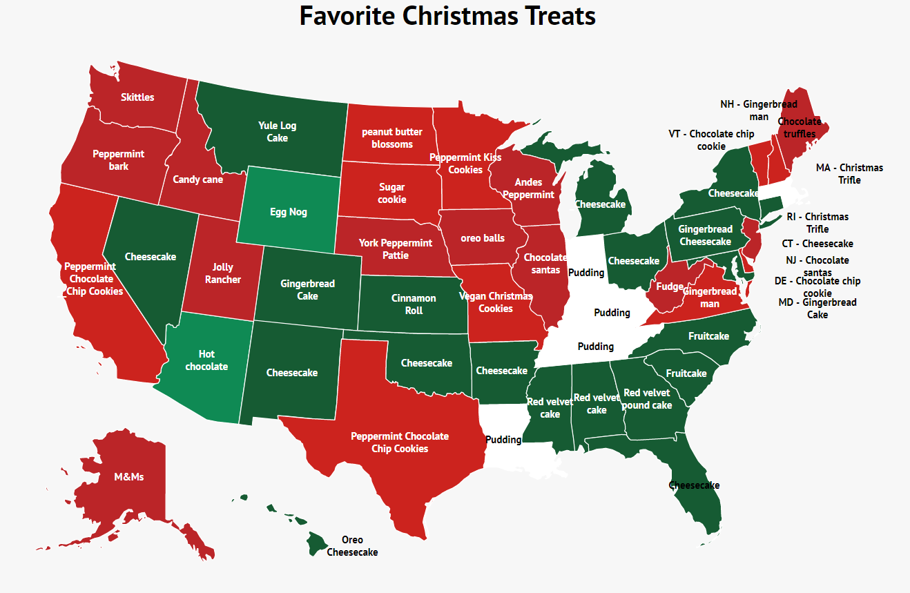 A color coded map shows each state's favorite christmas dessert.