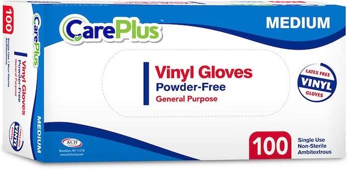 a box of vinyl powder-free medium-sized gloves