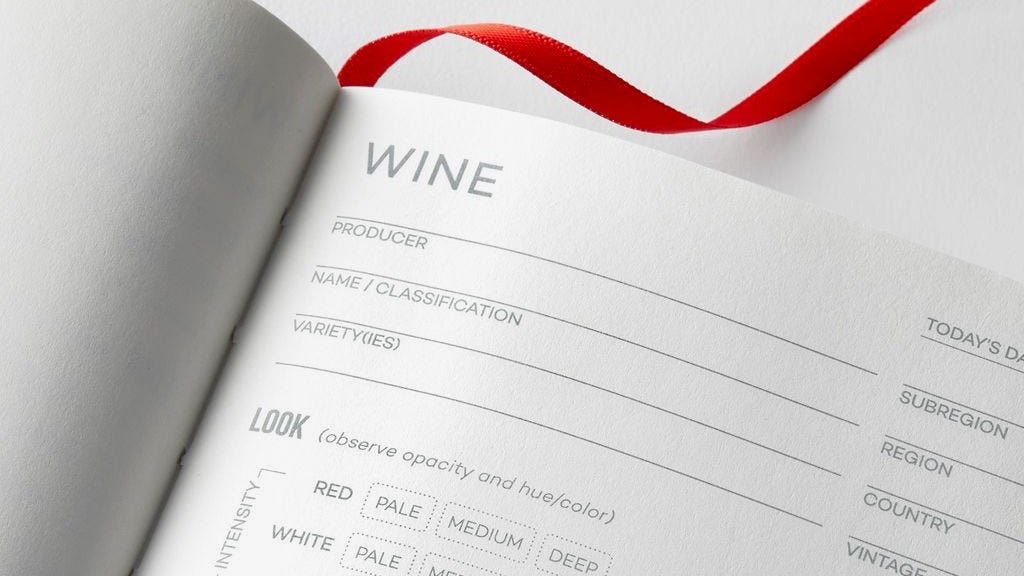 A closeup of a page in a wine tasting journal.
