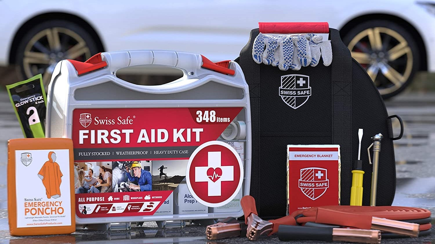 Items from an emergency car kit.