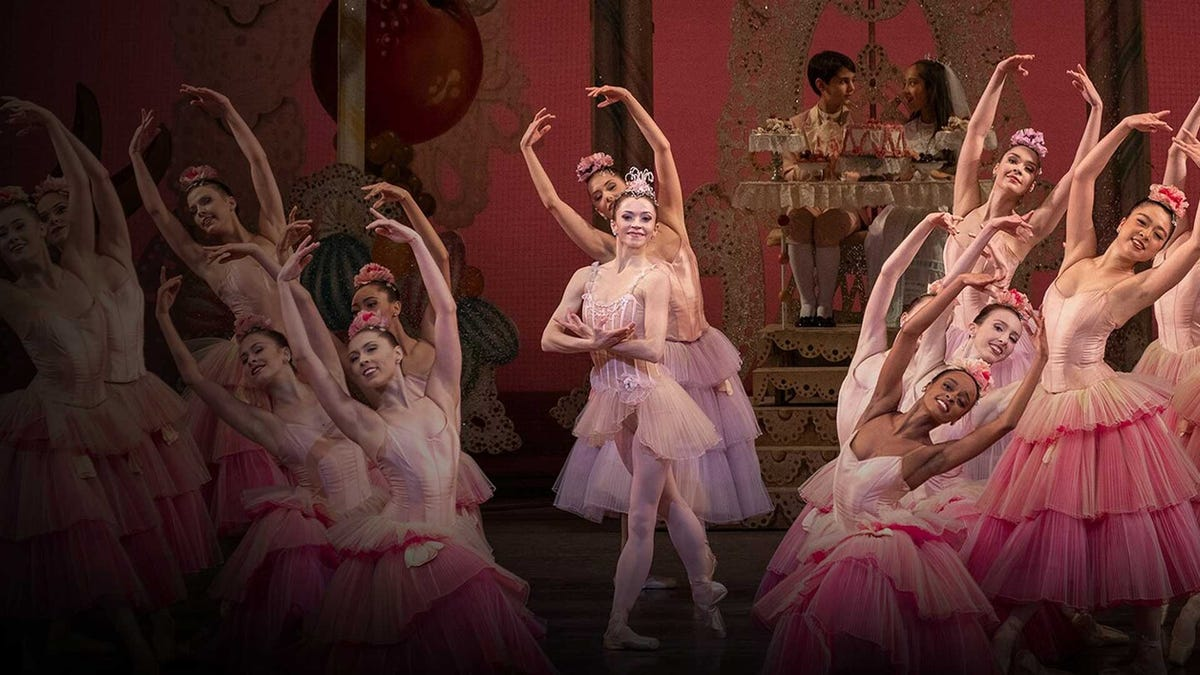 Ballet dancers performing a scene from 'The Nutcracker'.