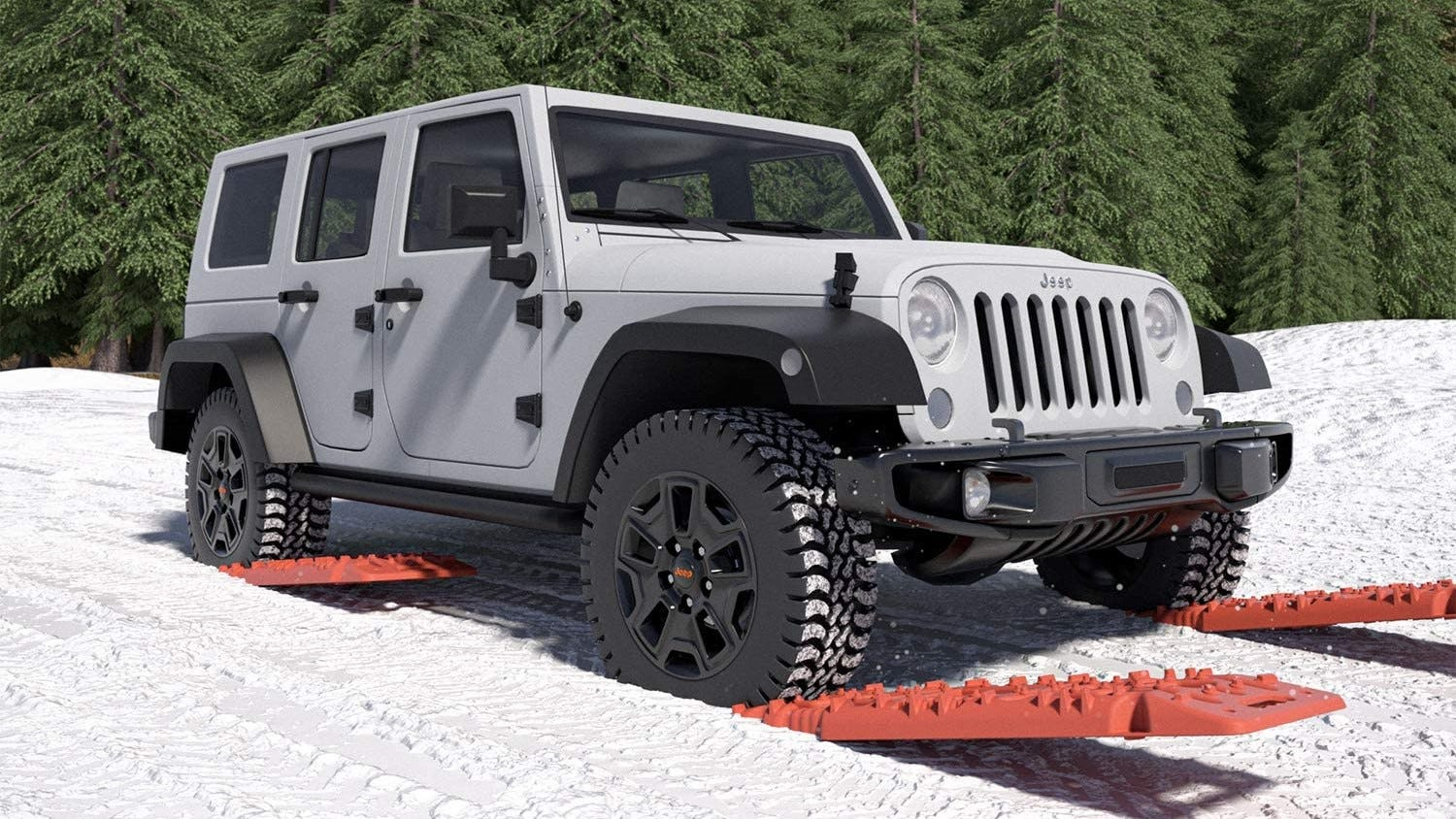 Vehicle using traction mats to get through snow.