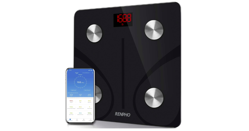 The Renpho smart scale with the companion app on a phone.