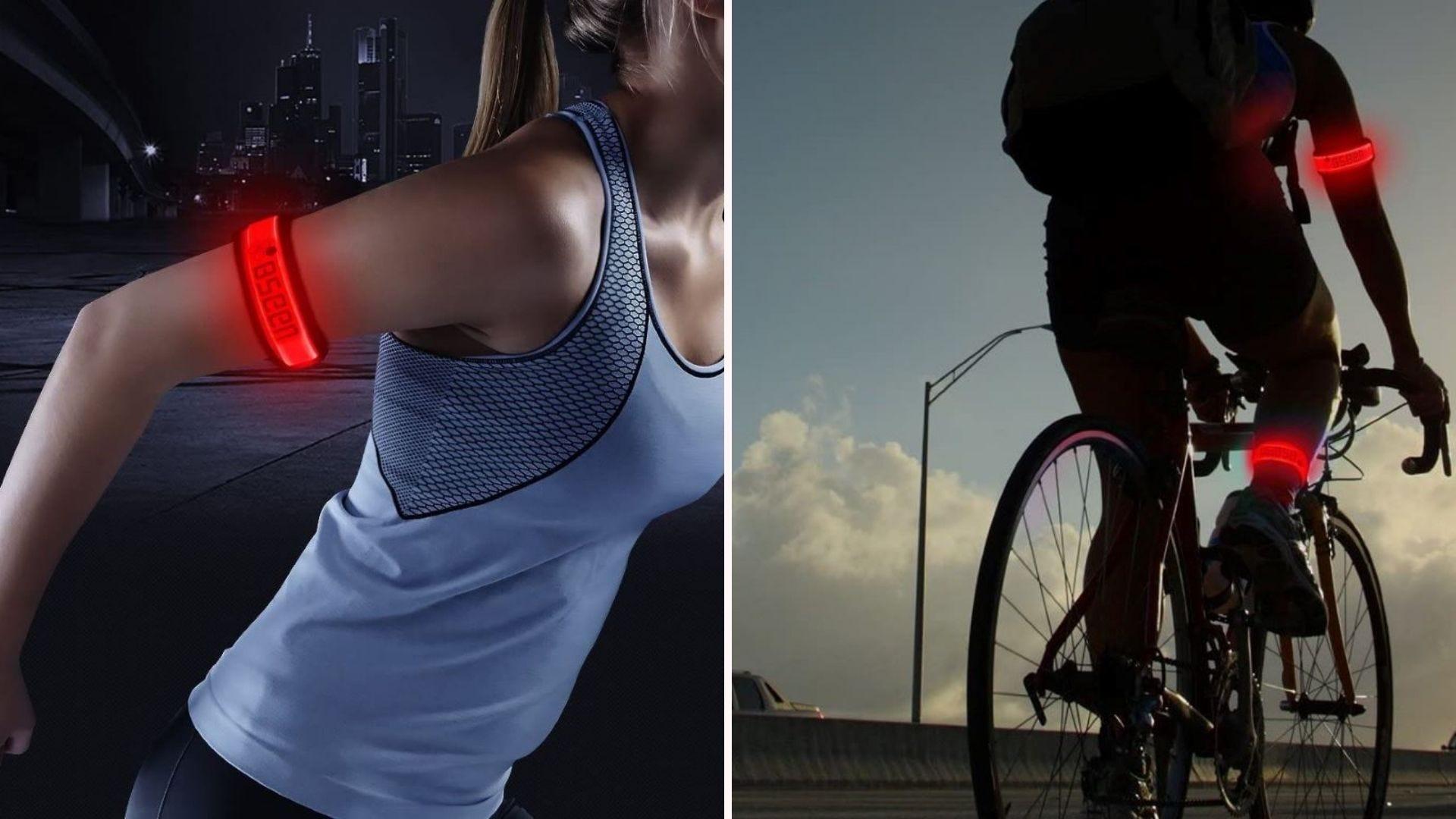 A runner and biker wearing red glowing BSEEN armbands.