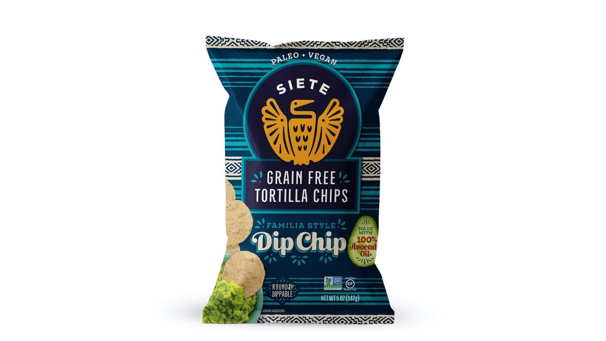 A bag of Siete Tortilla Dip Chips.