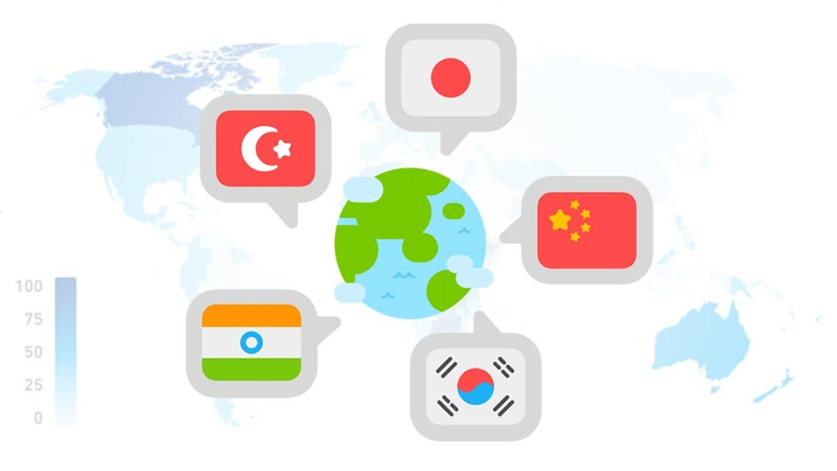 A graphic featuring world flags representing the most popular languages on Duolingo