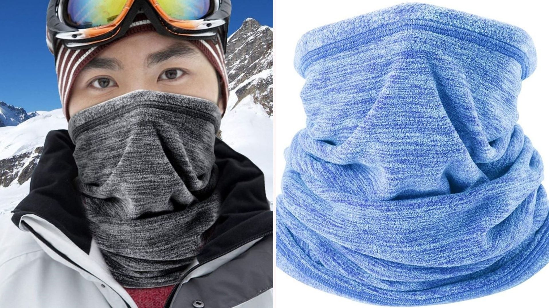 A man wearing a gray gaiter face mask outdoors and a sky blue gaiter.