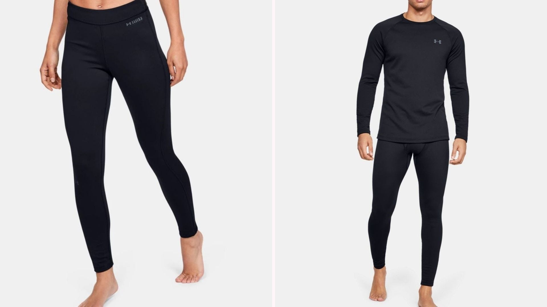 A woman and man wearing black Under Armour Compressed leggings