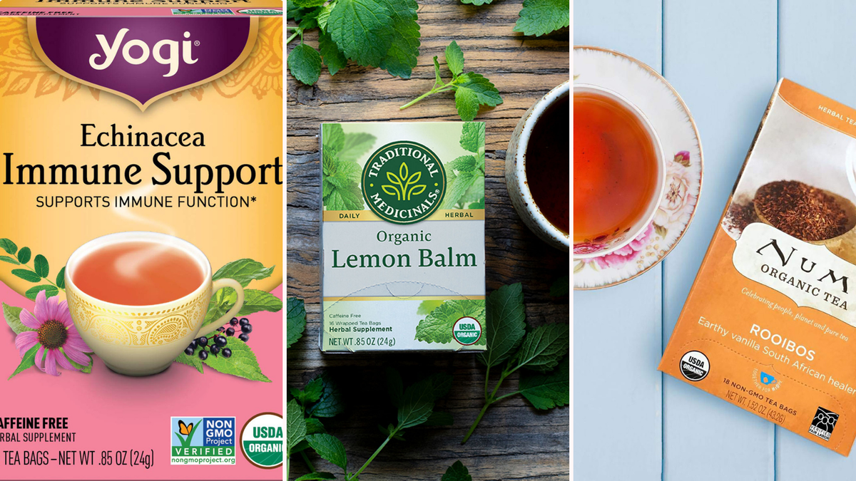 A box of Yogi Echinacea and Traditional Medicinals Lemon Balm teas, and a packet of Numi Rooibos tea.