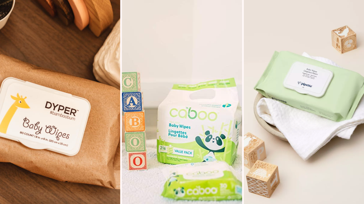 a selection of three different baby wipes