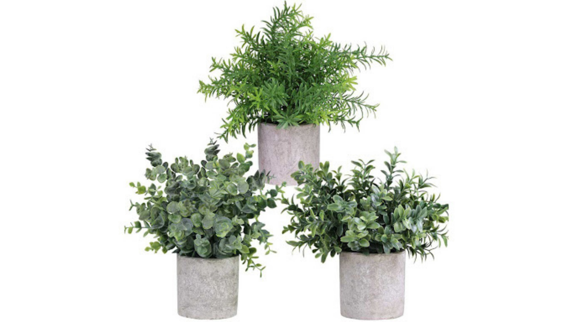 Three artificial potted plants on a white background.