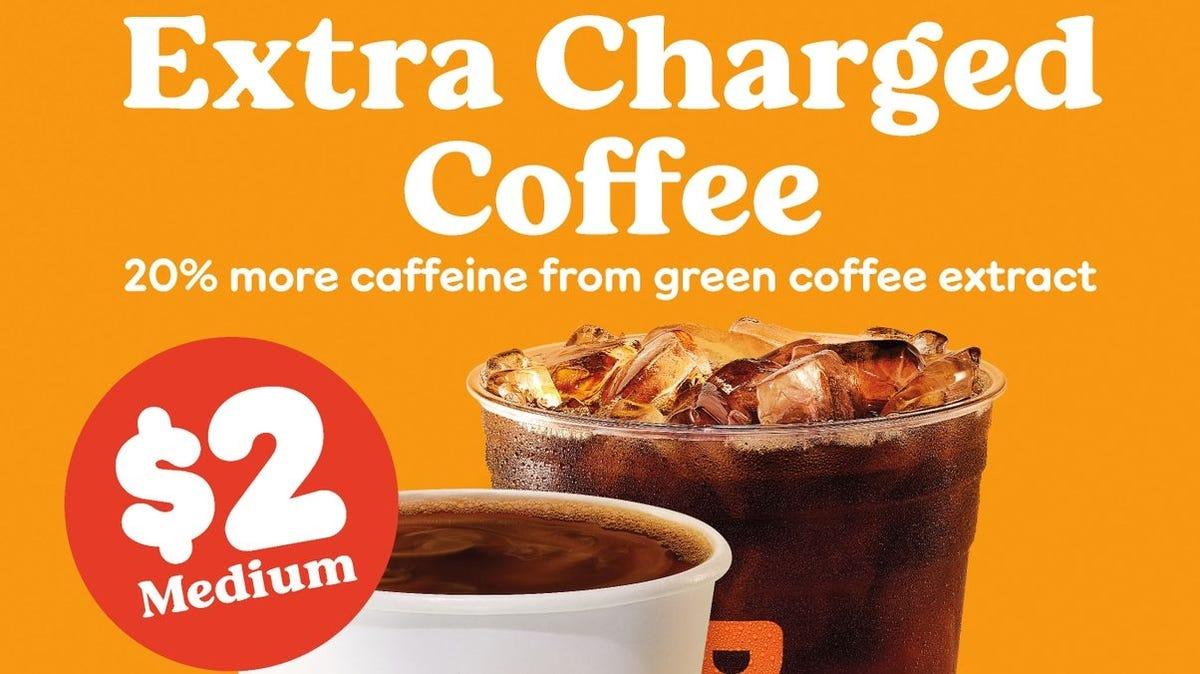 Dunkin' new extra charged coffee is here.