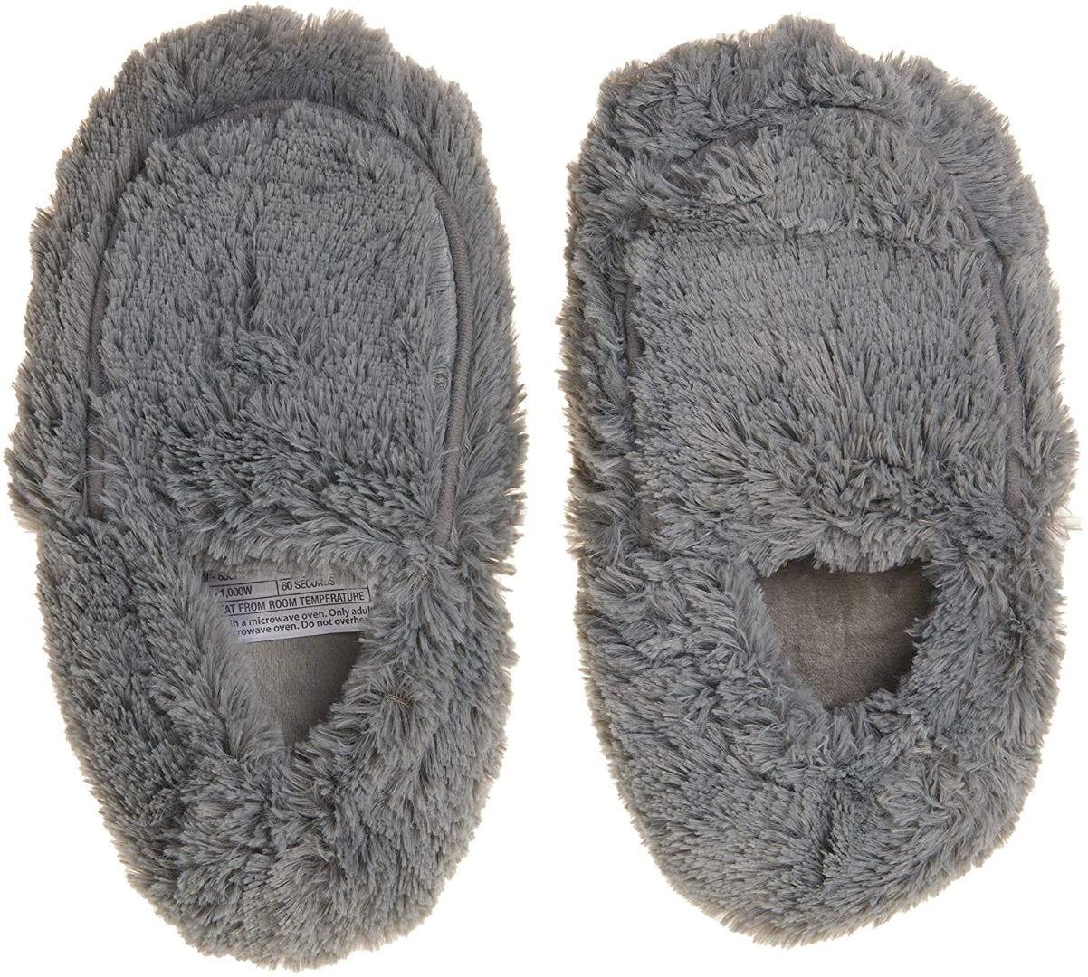 Gray fuzzy slippers.