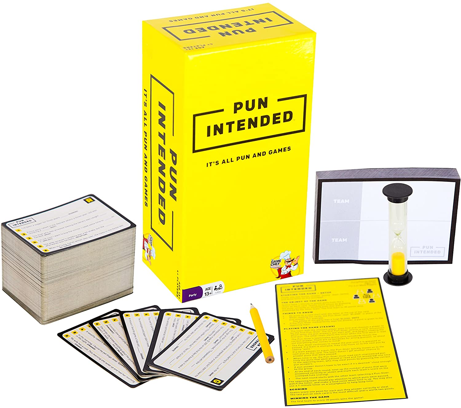 The cards, timer, and score card from Pun Intended next to its box.