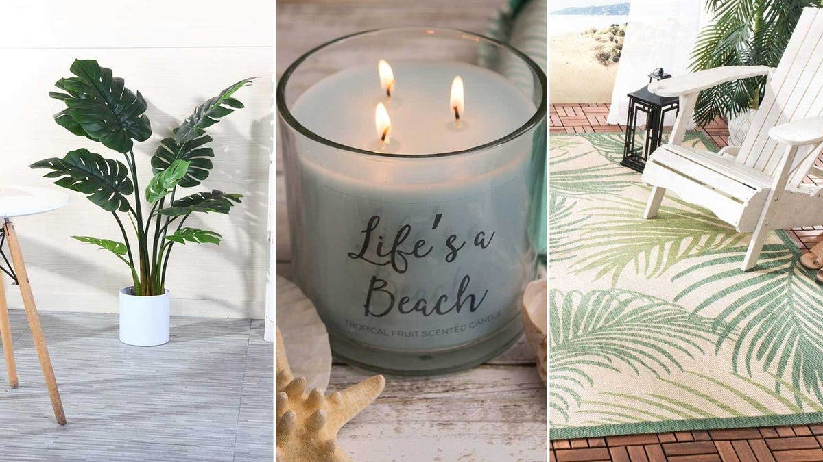 From left to right: an artificial monstera plant, a beach-scented candle, and a palm frond rug.