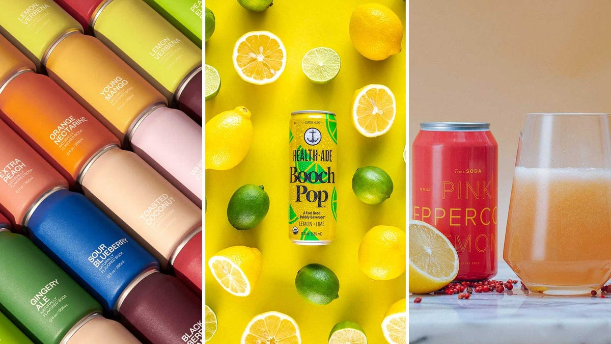 Colorful canned drinks, from various small-batch soda makers.
