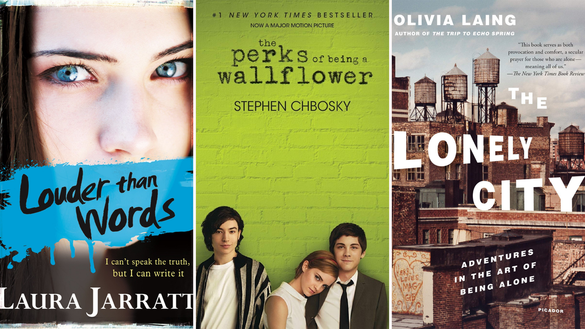 """The """"Louder Than Words,"""" """"The Perks of Being a Wallflower,"""" and """"The Lonely City"""" book covers."""