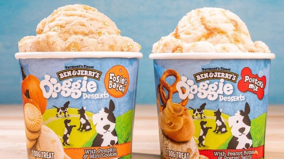 Two cups of Ben & Jerry's doggie ice cream desserts.