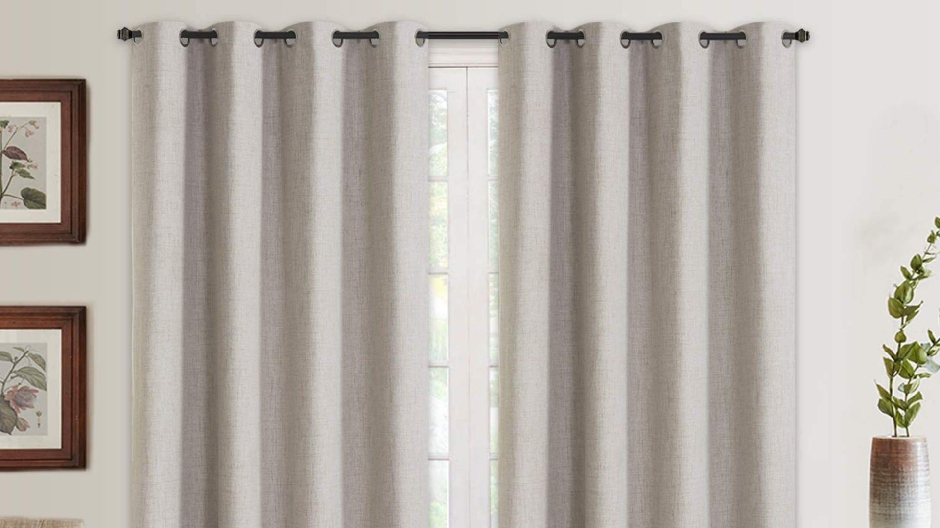 Beige linen curtains
