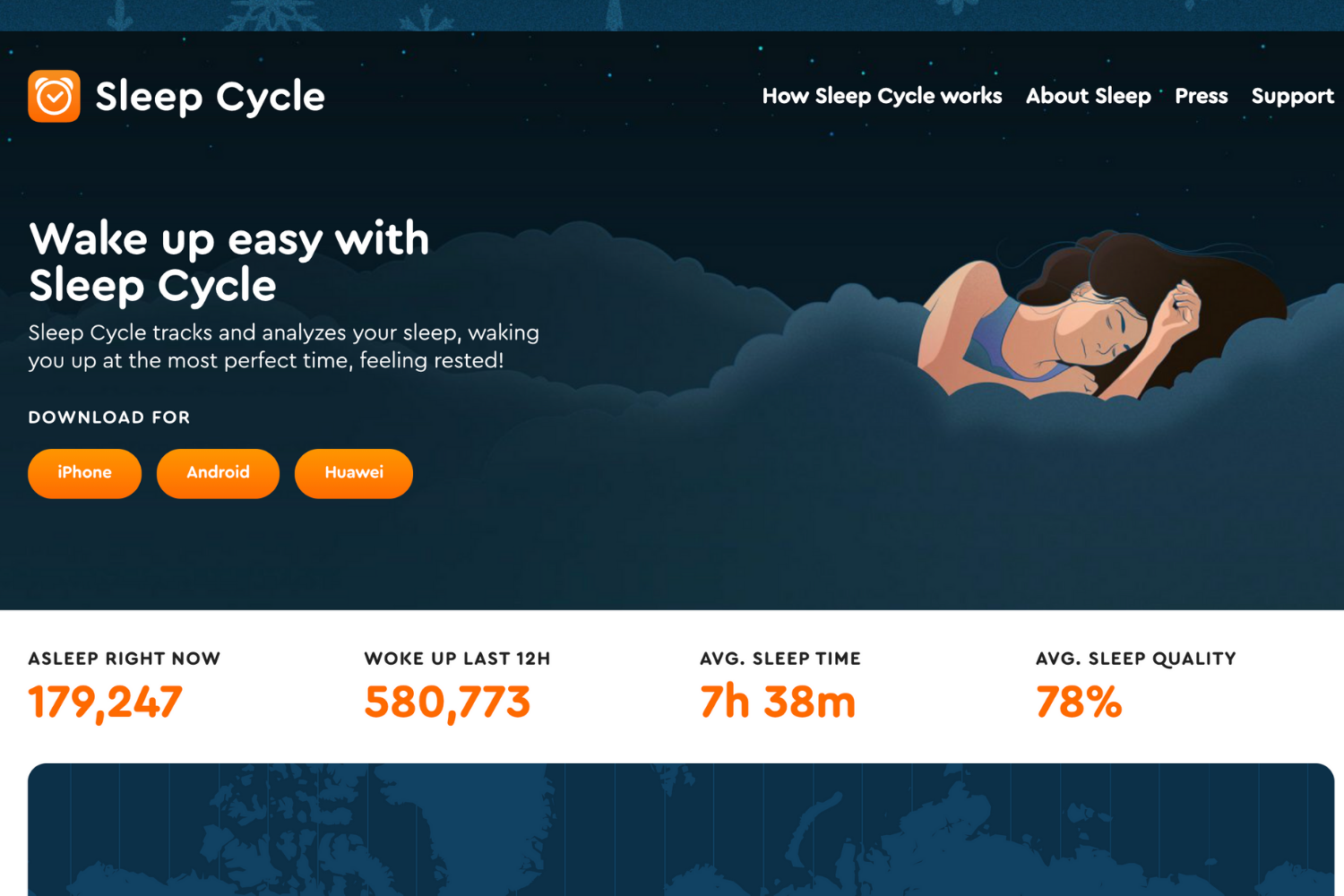 The splashpage for the app Sleep Cycle.