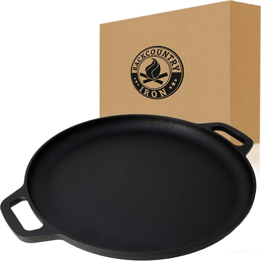 A Backcountry cast-iron skillet next to its box.