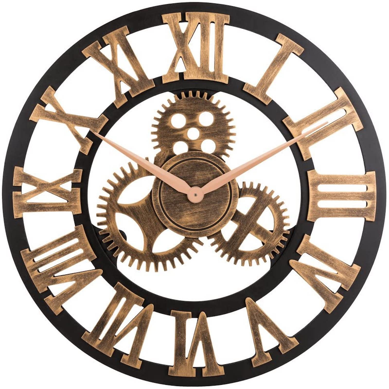 Black and wood clock face with Roman numerals and gears at the center